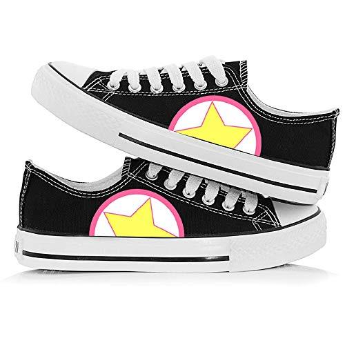 NXMRN Card Captor Sakura Chaussures en Toile Graffiti Basse pour Hommes Amoureux du Printemps et de l'automne Chaussures en Toile Noire et Blanche Chaussures pour Femmes Chaussures respirantes-40
