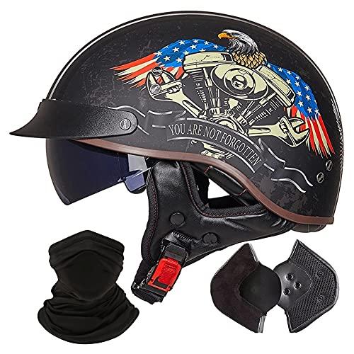 Casco de Moto Retro Mujer Hombre Adultos Medio Abierta Casco De La Motocicleta Dot/ECE Homologado Half-Helmet para ciclomotores Scooters cruceros Bicicleta