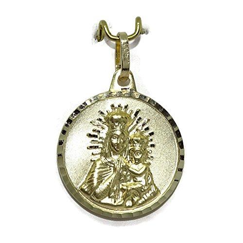 Never Say Never Escapulario con la Virgen del Carmen y el Sagrado Corazón en Oro Amarillo Ley 375mm.