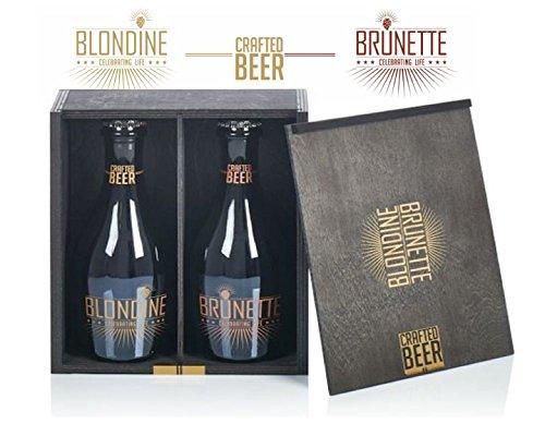 BLONDINE & BRUNETTE Gourmetbier - Geschenkbox Holz inkl. 2 Flaschen Gourmet Craft Bier mit edler Sekthefe Blondine & Brunette Crafted Beer à 0,33 cl