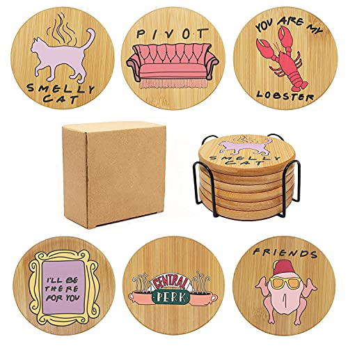 Friends TV Show Gifts Coasters for Drinks, ICEBLUEOR Funny Natural Wooden...