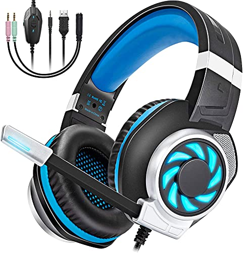GOXMGO Gaming Headset Headphone with Mic for Xbox One PS4 PS5 PC Controller Switch Laptop,3D Stereo Surround Sound,Noise Canceling Mic & LED Light,Soft Memory Earmuffs Game Accessories