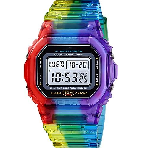 Relojes Digitales para Niños Chicas, Relojes Impermeables para Niños Reloj De Pulsera Deportiva con Alarma/LED Luminoso, Reloj para Niños Digital para Cumpleaños Estudiantes,D
