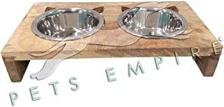 Pets Empire Cat Bowl Stand - Wooden - 2 Bowls - Perfect for Serving Your Cat Their Food and Water -2X200ML