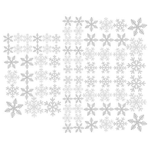 Pegatinas de Navidad con copos de nieve y ventanas, 81 pegatinas estáticas de PVC para decoración de fiestas, color blanco 3 hojas