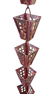 Arts & Crafts Square Cups Rain Chain with Installation Kit (15 Foot)