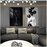 Arte de Pared 20x30cm 2 Piezas sin Marco Abstracto Cara Negra Mujer Obra de Arte Lienzo Pintura Carteles Moderno nórdico Arte de Pared Impresiones Imagen para Sala de Estar decoración del hogar