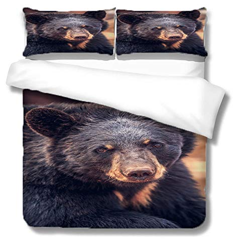 HLL 3D animal printing Bedding set 3 pieces Black bear with zipper closure suitable for children boys and teenagers