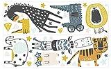 dekodino® Wandtattoo Pastell Safari Tiere Elefant Löwe Wanddeko Set