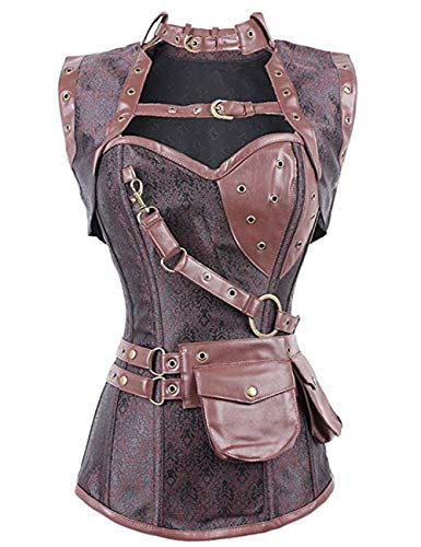 Package included: 1 corset, 1 jacket, 1 thong and 1 belt bag. Material: Brocade / High quality polyester & spandex. Textile Care: Gentle hand wash. Ideal as a pirate costume. Front with snap hook to close. With leather imitations on the hem. Lace up ...