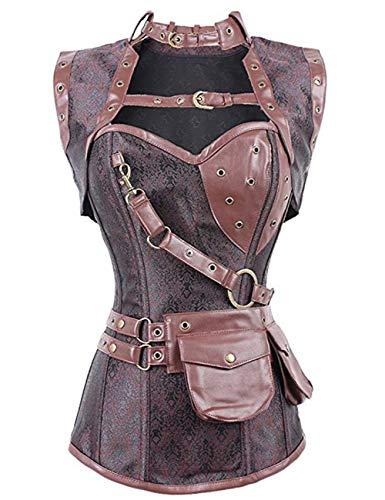 FeelinGirl Cors Gtico Medieval - Corset con Chaquetita para Mujer Estilo de Soldado Vintage Brocado Bustier con Tanga Marrn 3XL/Talla 42-44