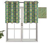 Hiiiman Cenefas de cortina de ventana para oscurecimiento de habitación, Groovy Bauhaus, juego de 1, cenefas de 137 x 45 cm para ventana de cocina con ojales.