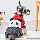 Fmiljiaty Chaqueta de Panda de Cuello Alto para Perros Lindos Disfraces de Franela Suave con Pantalones Negros a Rayas en General Ropa de Abrigo de Invierno para Mascotas Chihuahua