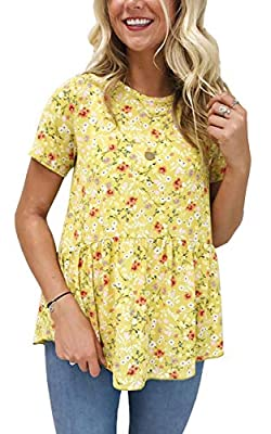 Hibluco Women's Short Sleeve Round Neck Floral Print Swing Tunic Top Blouse Yellow