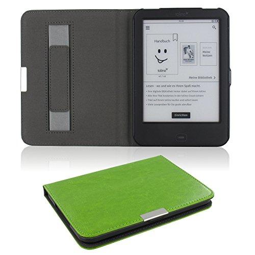 Hülle für Tolino Shine 2 HD ultradünne Tasche Hülle aufklappbare Schutzhülle mit Ruhemodus & Magnetverschluss Kunstleder Flip Etui Cover grün