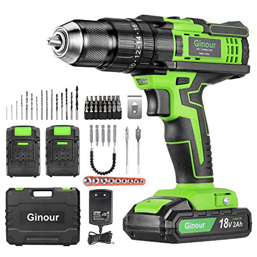 Cordless Drill Driver, Ginour 18V Combi Drill, Hammer...