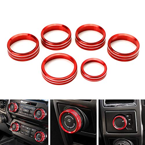 iJDMTOY 6pc Sports Red Aluminum Air Conditioner Stereo Volume/Tune Trailer/4WD Switch Knob Ring Covers Compatible With 2016-up Ford F-150