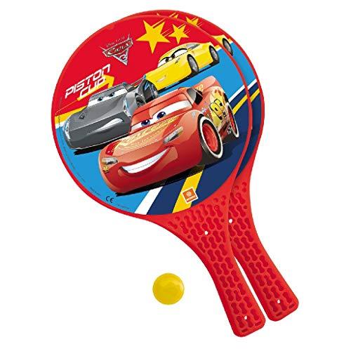 Mondo Toys - Disney Cars 3 - 2 Racchette in plastica / pallina di gomma - Gioco da Spiaggia per Bambini e Adulti -15023