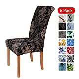 smiry Stretch Printed Dining Chair Covers, Spandex Removable Washable Dining Chair Protector Slipcovers for Home, Kitchen, Party, Restaurant - Set of 6, Black Vintage