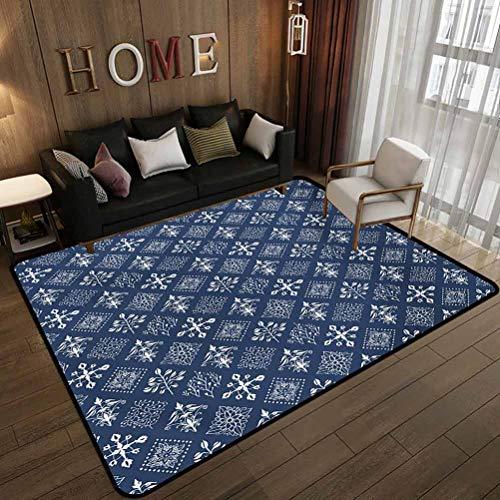 All-Match Floor mat,Mediterranean Floral Leaf Swirl Detailed Rectangular Armor Design Image,Non-Slip Decoration of Floor mats for Patio Doors Navy Blue and White 6.6'x9'(200x270cm)