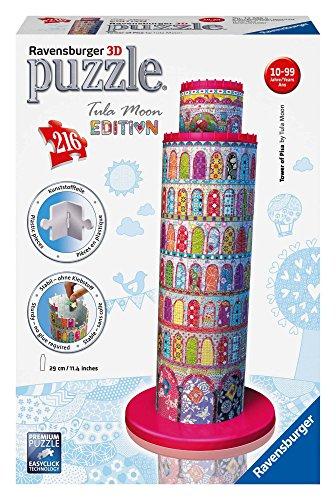 Ravensburger 12568 - Tula Moon Pisa Turm, 3D Puzzle-Bauwerke, 216 Teile