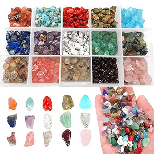Cuentas de Piedras Preciosas de 4-8 mm con Forma de Nugget Natural,Kit de fabricación de cuentas de piedra para joyas, collares, pulseras, pendientes, con caja portátil