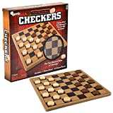 Gamie Wooden Checkers Board Game, Wood Family Board Game for Game Night, Indoor Fun and Parties, Develops Logical Thinking and Strategy, Best Gift Idea for Kids