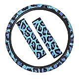 POLERO Funda para volante de coche, diseño de leopardo, color azul, para...