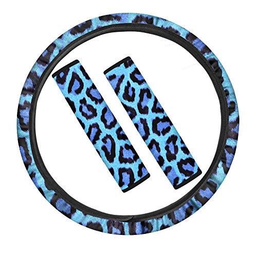 POLERO Funda para volante de coche, diseño de leopardo, color azul, para cinturón de seguridad, antideslizante, suave, decoración interior
