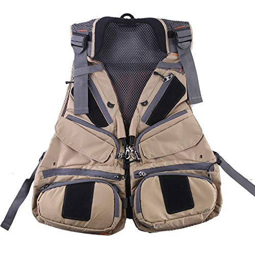 SYXZ Fly Fishing Vest With Multifunction Pockets, Adjustable-size Mesh Fishing Backpack Fly Fishing Jacket,C