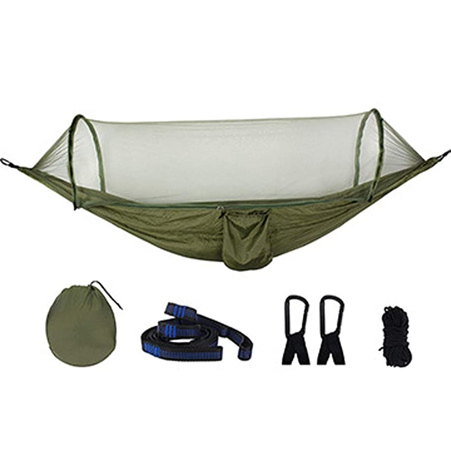 祈るボス矛盾する携帯キャンプダブルハンモック旅行蚊帳軽量パラシュートナイロンスイングベッド用旅行バックパッキングキャンプ狩猟ビーチヤード