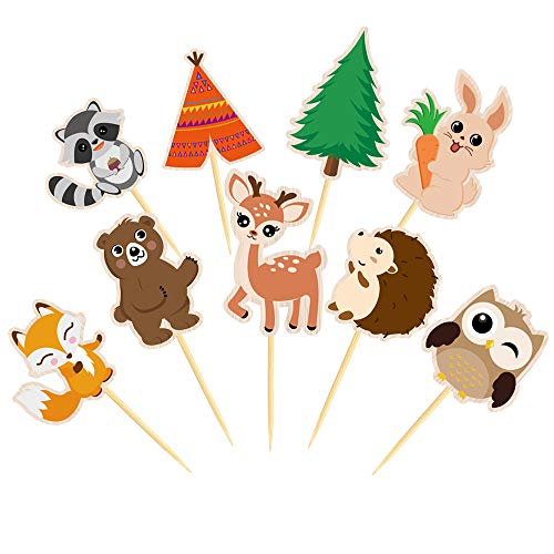 WERNNSAI Tier Kuchendeckel - Waldtiere Kuchendekoration Cupcake Topper Dekorationen Waldtiere Tiere Kuchen für Geburtstag Kinder Hochzeit Baby Shower Party Zubehör