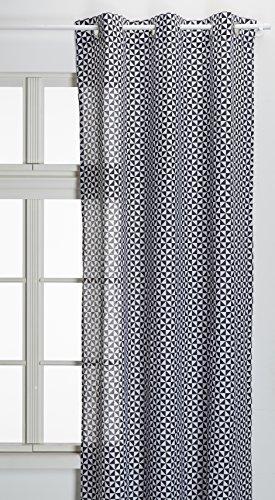 TODAY Rideau avec 6 Œillets, Coton, Gris/Blanc, 240x140 cm