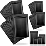 120 Pieces Resealable Smell Proof Bags Aluminum Metallic Foil Pouch Bag Flat Mylar Bag for Food, Candy, Jewelry, Screw, 4 Sizes (Black)