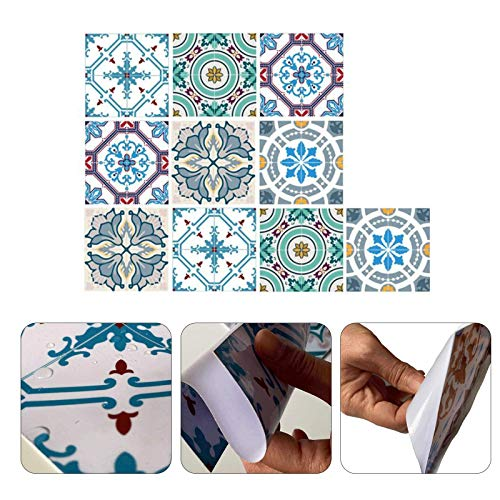Pegatinas para Azulejos, Autoadhesivas Impermeable Ambiental DIY Pegatinas para Azulejos Marroquí Lisboa Victoriano Estilo Pegatinas para Cocina Baño Decoración Hogar (20 x 20 cm,A-10PCS)