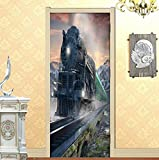 Steam Train Photo Wallpaper Türaufkleber 3D Wohnzimmer Schlafzimmer Home Decor Tür Wandbild PVC Selbstklebende wasserdichte Wandaufkleber