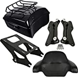 XMT-MOTO King Tour Pack Luggage Kit w/Black Latches+Two-Up Tour Pack Mounting Rack+Docking Hardware+ Luggage Top Rack Kit for Harley Touring Road King, Road Glide, Street Glide and CVO model 2014-2020