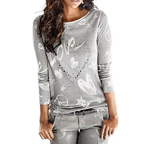 Topgrowth Donne Manica Lunga Lettera Stampato Camicia Sciolto Cotone Top Livello Base Maglietta (Grigio, M)