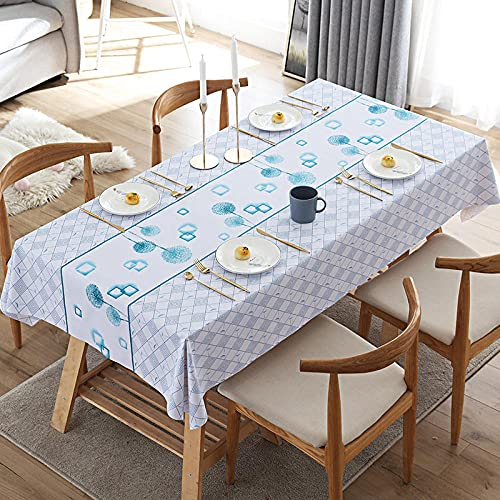 Grå bordsduk tvättbar bordsduk torka ren bordsduk vattentålig rektangulär bordsduk kök matbord dekoration bordsskydd blå maskros 80 x 130 cm
