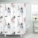 Emvency Fabric Shower Curtain with Hooks Paris French Bulldog Pet Puppy Adorable Bold Chic Cool Dog 60