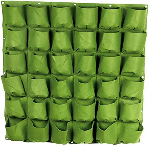 C-handmatige Plantende Tas Kwekerij Potten Verhogen Tassen Opknoping Planter Tas Verticale Opknoping Tuin Bloempot voor Outdoor Binnen Groenten Bloemen Groeiende Plantende Rek Ontvettingsbaar Plantende Groei Container 64-green Zwart