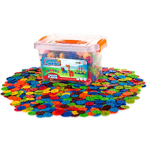 Creative Kids Flakes – 1400 Piece Interlocking Plastic Disc Set for Safe Fun Creative Building – Educational STEM Construction Toy for Boys amp Girls  Non Toxic – Ages 3