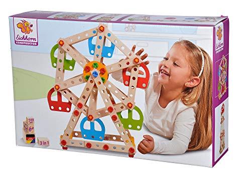 Eichhorn 100039099 Constructor Riesenrad - vielseitiges Holzspielzeug, 240 Bauteile, 3 verschiedene Konstruktionen, FSC 100% zertifiziertes Buchenholz, für Kinder ab 6 Jahren