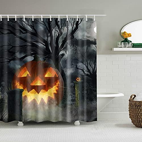 TENKHL DuschvorhangHappy Halloween Cartoon Wizard Kürbis Duschvorhänge Wohnzimmer Dekoration Display Bad Vorhang Badezimmer Vorhang mit Haken