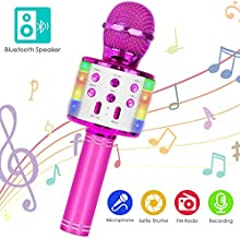Wireless Bluetooth Karaoke Microphone, 5-in-1 Portable Handheld Mic Speaker Player Recorder with Controllable LED Lights, Adjustable Remix FM Radio for Christmas, Birthday, Home Party More(Rose Red)
