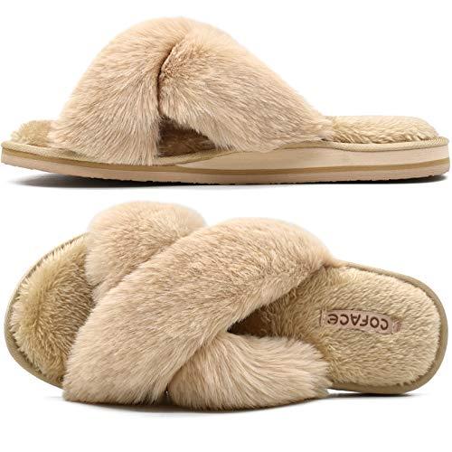 COFACE Zapatillas de Casa para Mujer Pantuflas de Felpa de Invierno Zapatos Cruzados de Peludas Suave Punta Sbierta Diapositivas Antideslizantes Cómodo Interiores y Exteriores Beige Talla 39