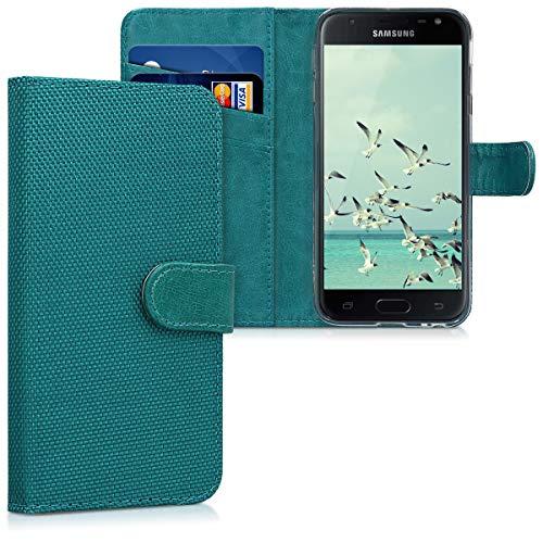 kwmobile Hülle kompatibel mit Samsung Galaxy J3 (2017) DUOS - Kunstleder Wallet Hülle mit Standfunktion in Hellblau