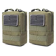 "One item includes two tactical pouches(US flag patch not included). Molle pouch size: 6.1""L x 4.5""W x 2.2""T. The outside of the pouch is made of durable 600D nylon for long time use. The inside of the pouch is made of water-resistant coating to preve..."