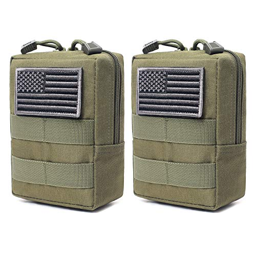 2 Pack Molle Pouches - Tactical Compact Water-Resistant EDC Pouch (Patch Not Included) (Army Green)