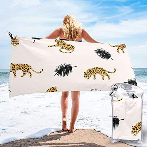 Toallas de viaje de microfibra de secado rápido, ligera, sin arena, con patrón exótico con siluetas abstractas de leopardos, de secado rápido, para tomar el sol, hacer mochila, deportes, yoga, natación, 160 x 81 cm